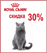 Скидка 30% на Royal Canin для кошек!