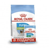 Акция! X-Small Puppy (Junior)  (Royal Canin для юниоров карликовых пород, 1,5кг + 2пауча) (87496)
