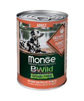 Monge BWild Grainfree All Breeds Adult Tacchino (Монж консервы для собак из индейки с тыквой и кабачками)
