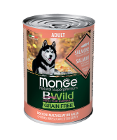 Monge BWild Grainfree All Breeds Adult Salmone (Монж консервы для собак из лосося с тыквой и кабачками)